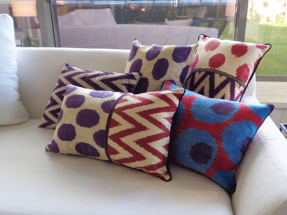 06 coussins violet fushia les ottomans velours soie ikat